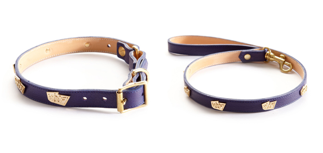 WOOF! leather dog collars by Cleo B & beauchamps of London
