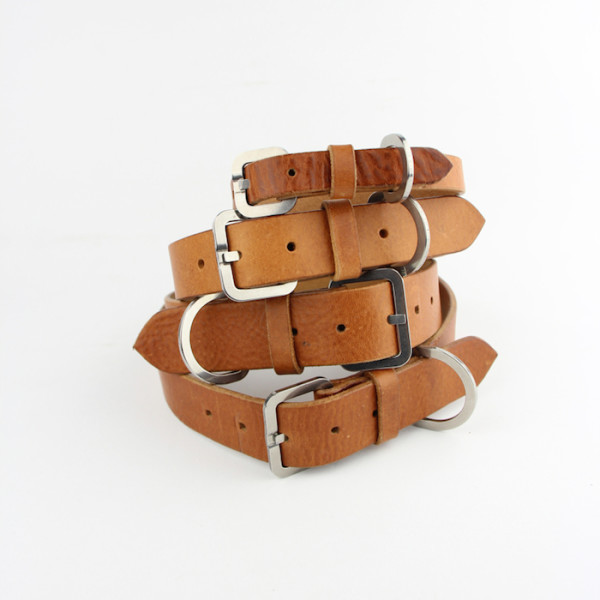 tan leather dog collars by bone and rag