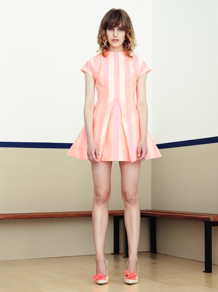 House of Holland pink stripe jacquard party frock
