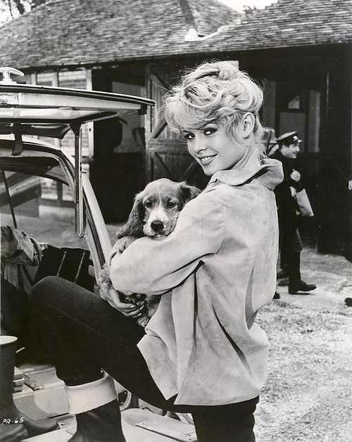 Brigitte Bardot and her dog