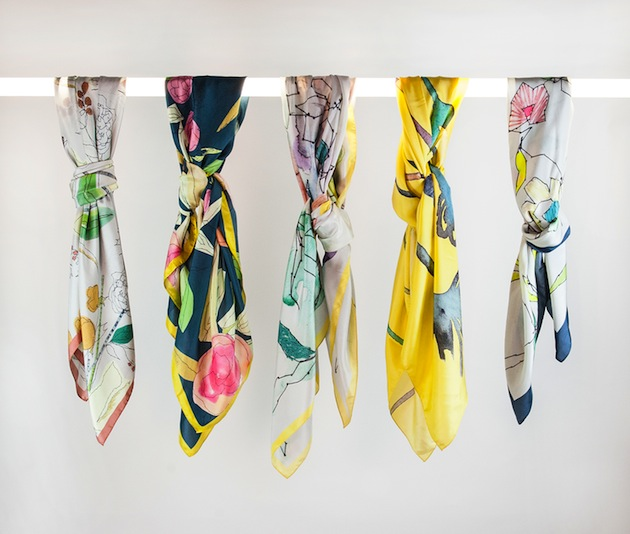 Claire Coles Silk Scarves SS 2013