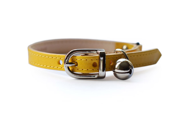 Yellow Leather Designer Cat Collar by Linny