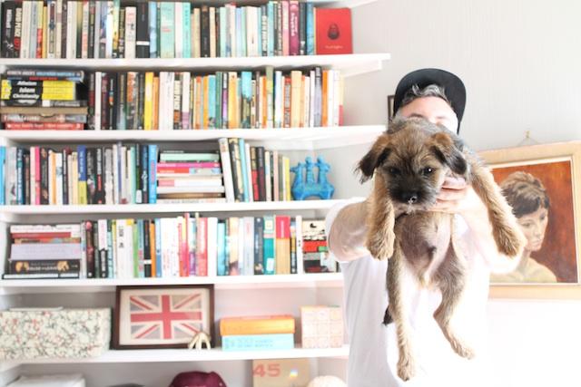Dan Jones and her Border Terrier Gary, London