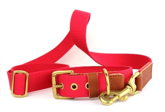 dog collar and lead set bone and rag, red