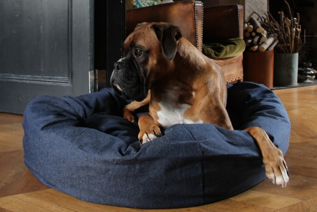 Denim Bolster Dog Bed by Bone & Rag