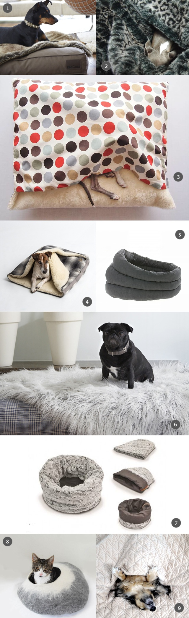 dog snuggle beds and faux fur blankets