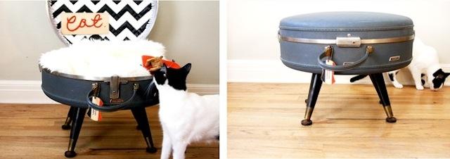 DIY cat suitcase bed