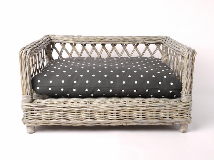Raised rattan dog basket bed by Charley Chau