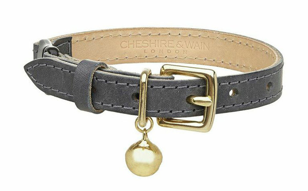 LUXURY GREY LEATHER COLLAR BY CHESHIRE AND WAIN