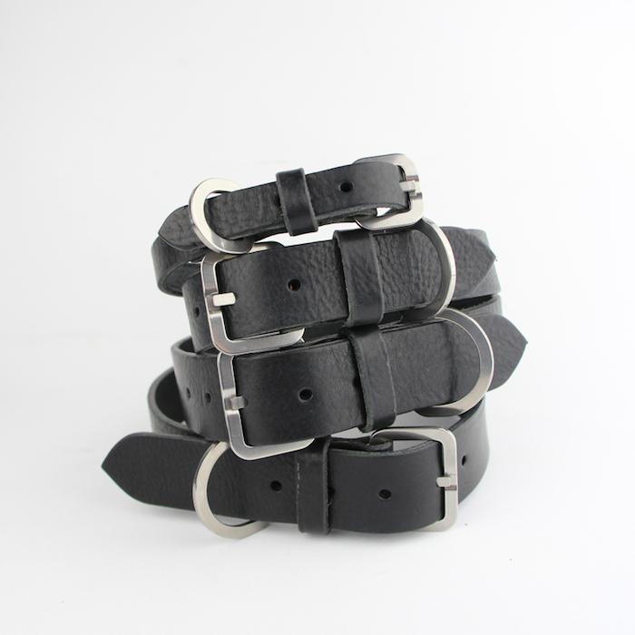 bone and rag black leather dog collars