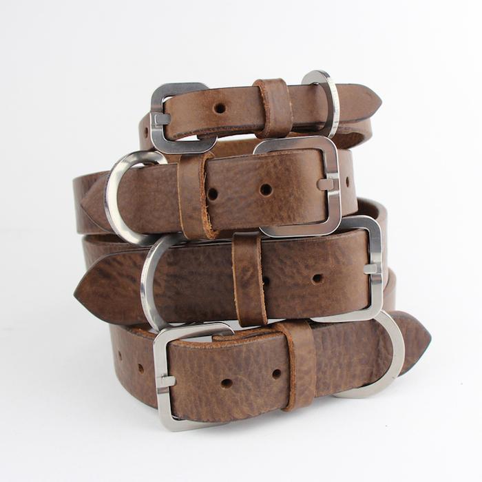 Bone and rag chocolate leather dog collar