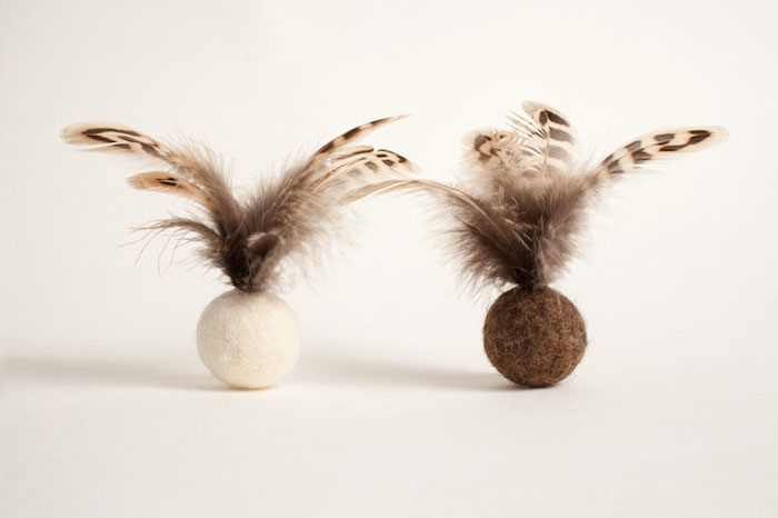 feather ball cat toys by Tux and Tabby