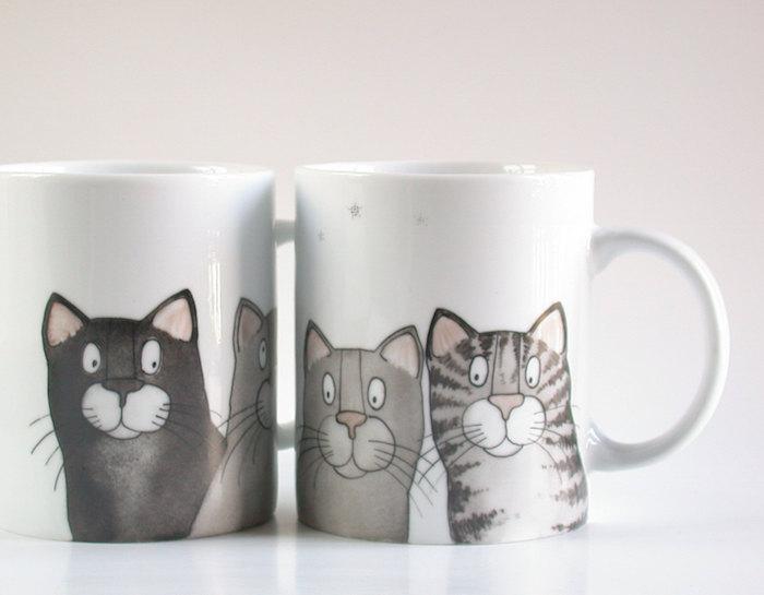 hand painted cat portrait mugs madrab