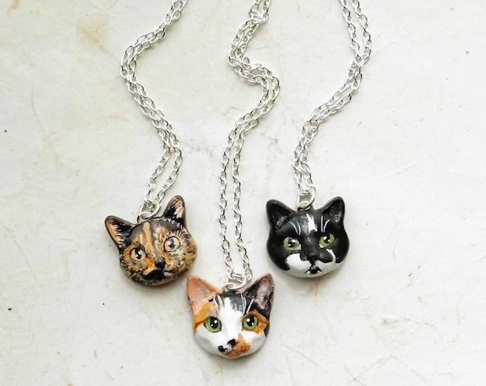 cat portrait necklace flower land shop