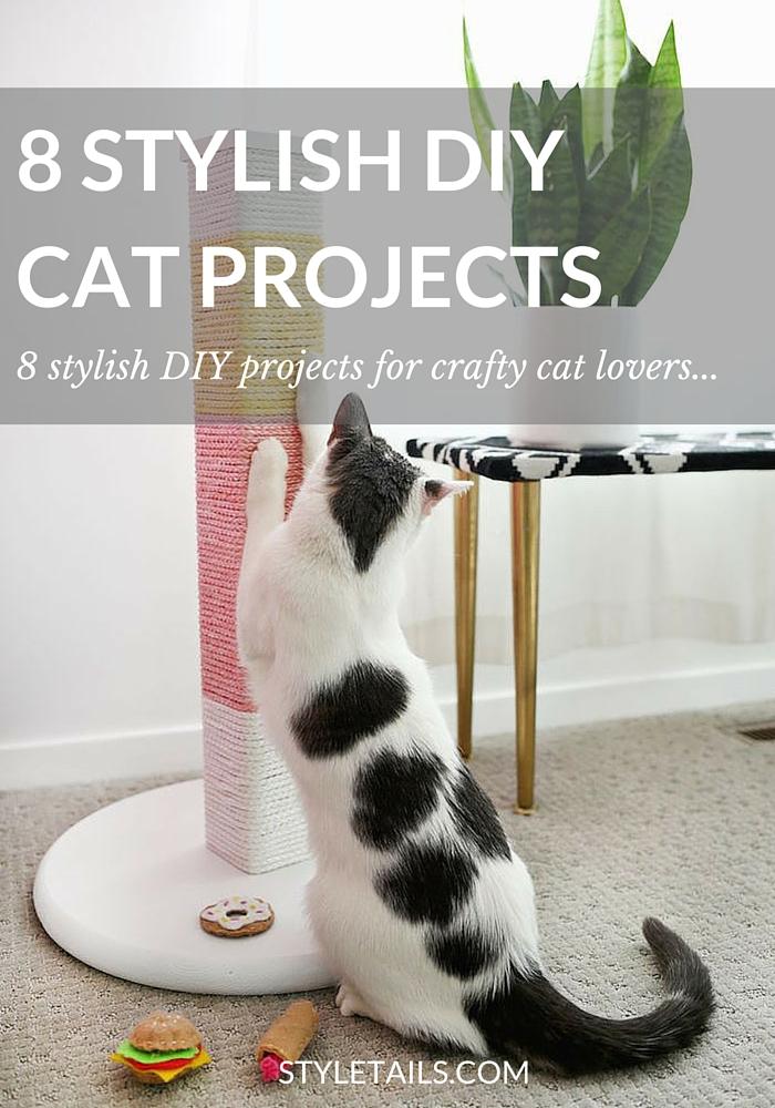 DIY colour block cat scratcher