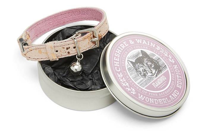 cheshire and wain pink leather cat collar
