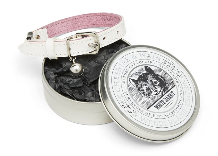 cheshire and wain white leather cat collar