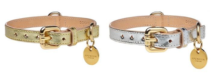 dogatella metallic gold silver dog collars and leads
