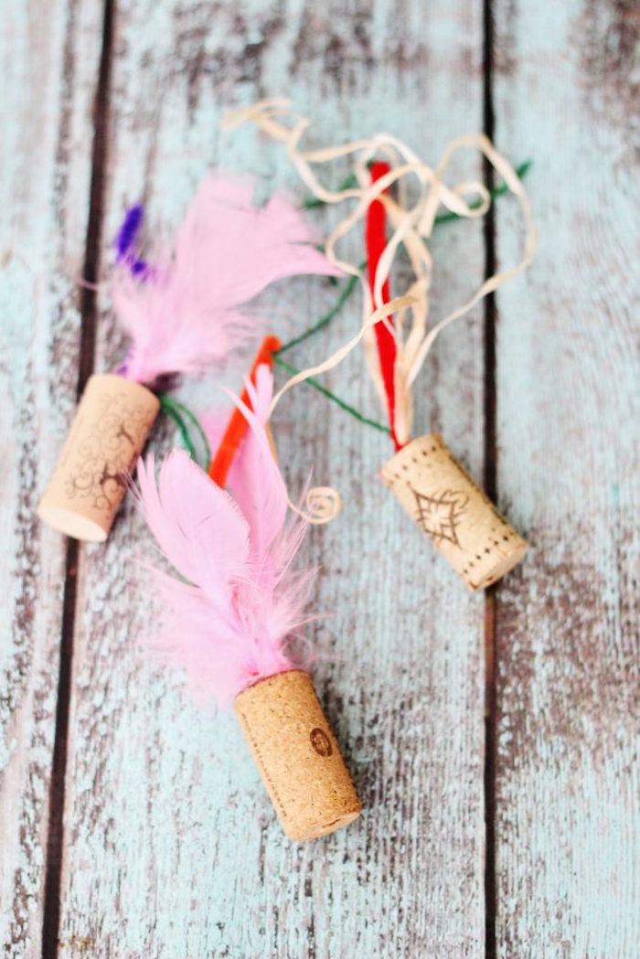 diy cat cork feather toys