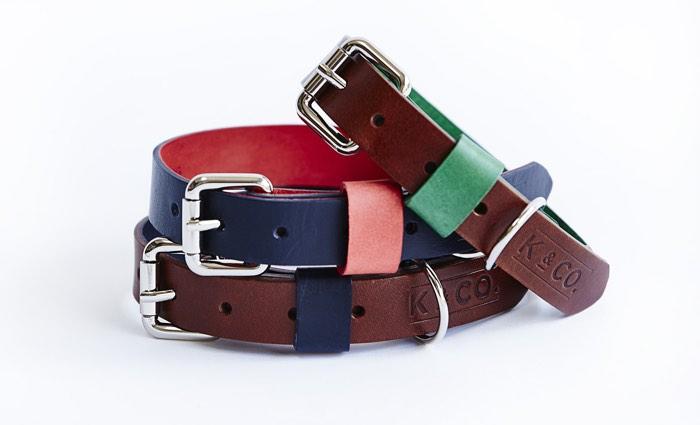 Kipper and co designer leather dog collars