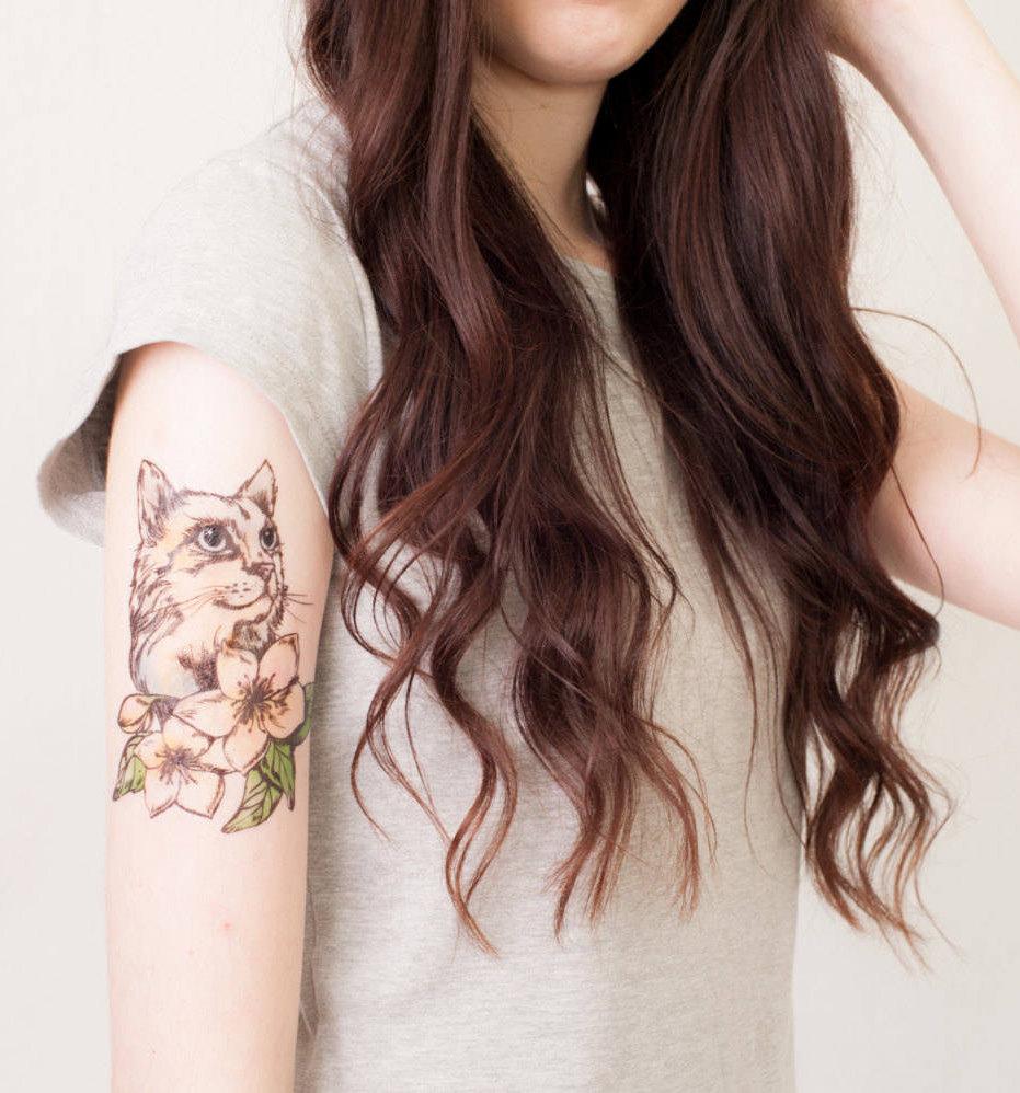 temporary cat tattoo