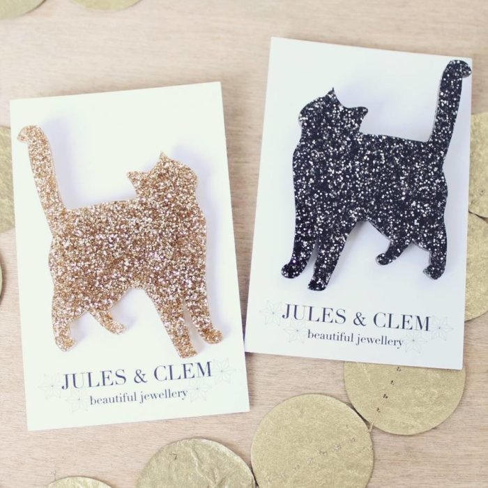 Cat brooches - Jules and Clem