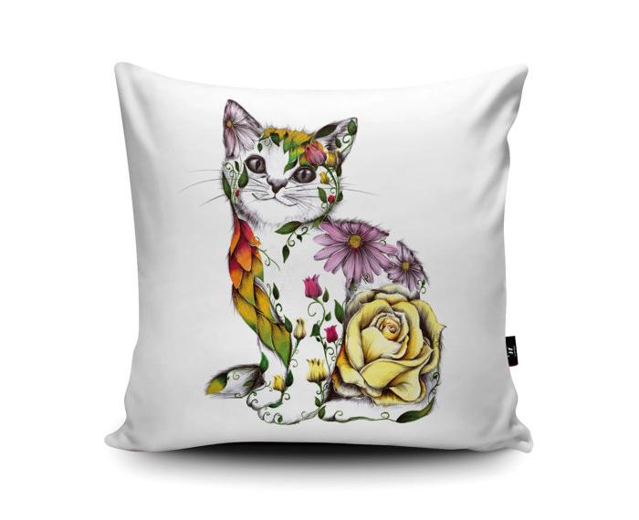 Floral Cat Cushion by Kat Baxter