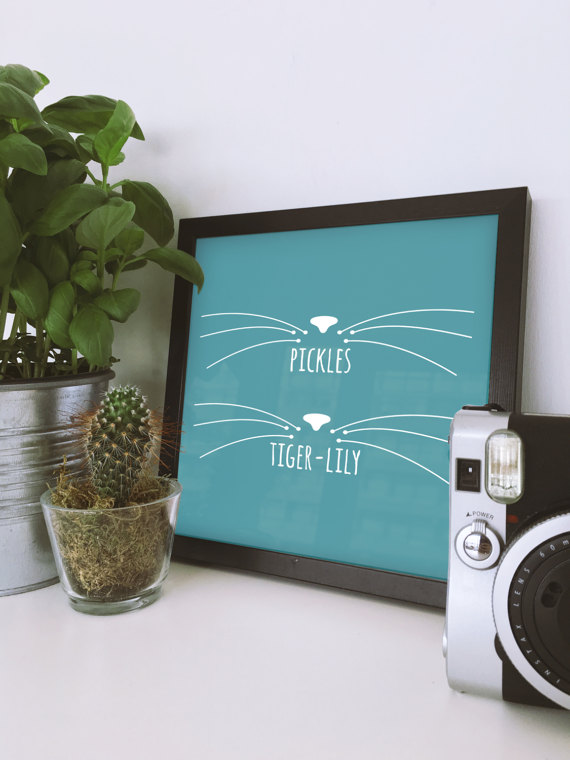 Personalised Cat Name Print by Hello Prints Co