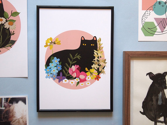 Black Cat With Flowers By ilikeCATSshop