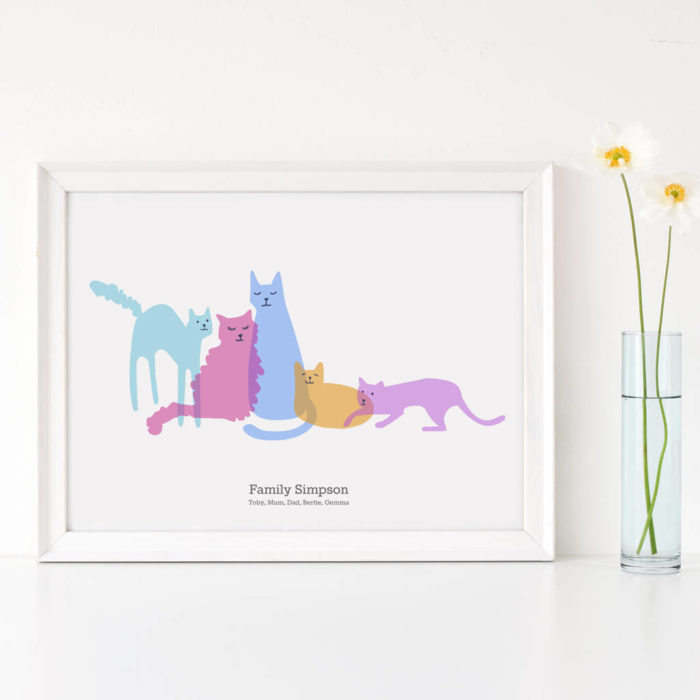 Personalised Family of Cats by Scribble Print Studio