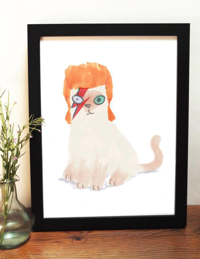 David Bowie cat print illustration