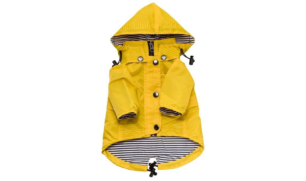 yellow waterproof dog raincoat